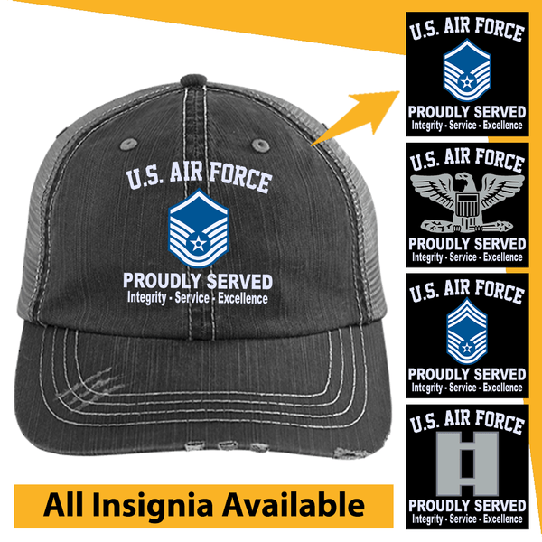US Air Force Insignia Proudly Served Core Values Embroidered Distressed Unstructured Trucker Cap