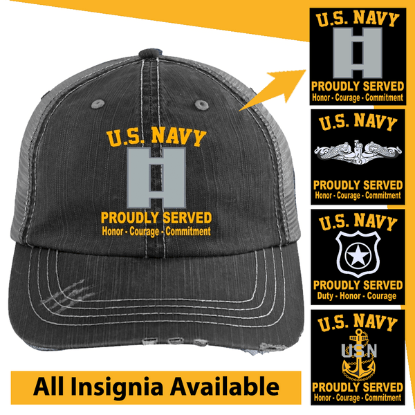 US Navy Insignia Proudly Served Core Values Embroidered Distressed Unstructured Trucker Cap