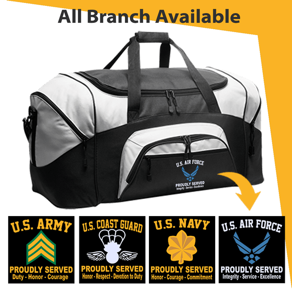 US Military Insignia Proudly Served Core Values Embroidered Duffel Bag