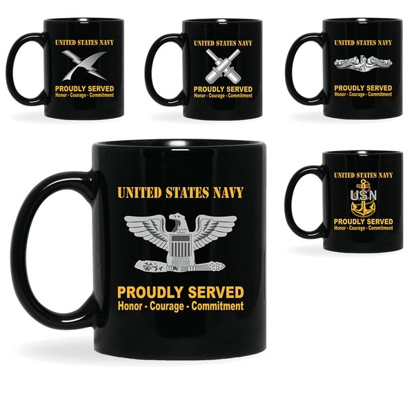 US Navy Insignia Proudly Served Core Values 11oz - 15oz Black Mug