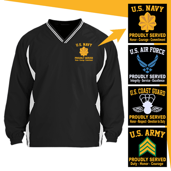 US Military Insignia Proudly Served Core Values Embroidered Windshirt