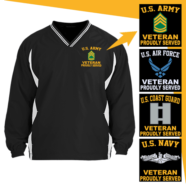 US Military Insignia Veteran Proudly Served Embroidered Windshirt