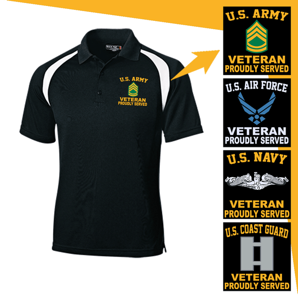 US Military Insignia Veteran Proudly Served Embroidered Golf Shirt