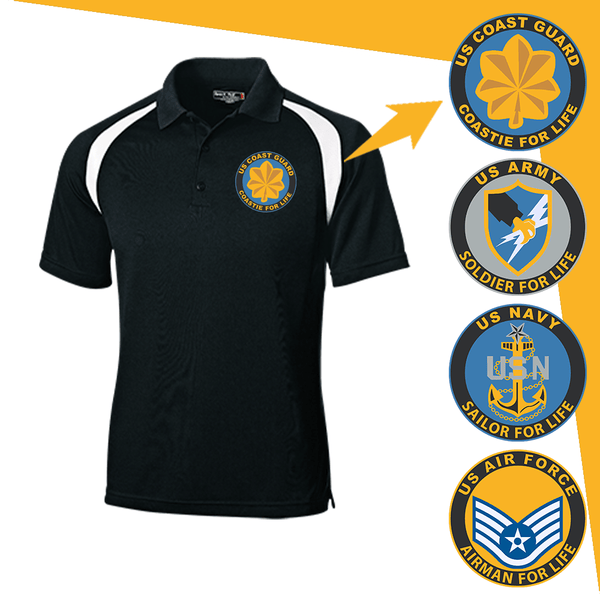 US Military Insignia Soldier For Life Embroidered Golf Shirt