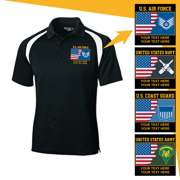 Personalized USA Flag with Military Logo/Insignia and Text  Embroidered Golf Shirt