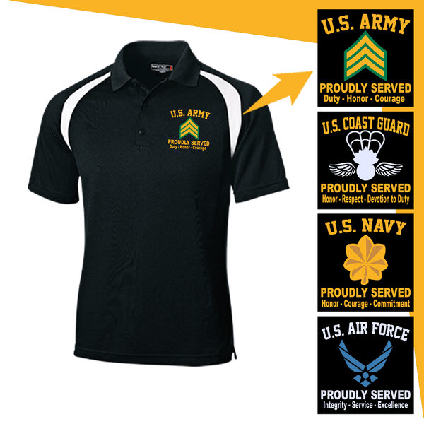 US Military Insignia Proudly Served Core Values Embroidered Golf Shirt