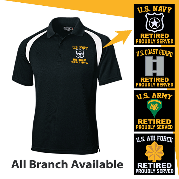 US Military Insignia Retired Proudly Served Embroidered Golf Shirt