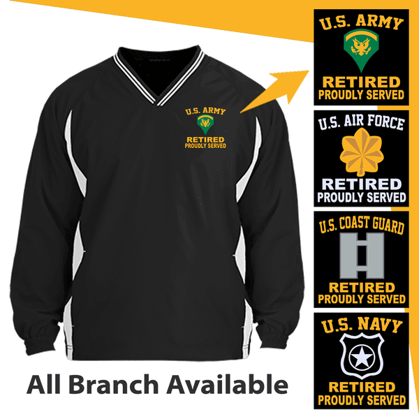 US Military Insignia Retired Proudly Served Embroidered Windshirt