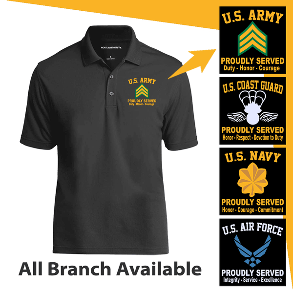 US Military Insignia Proudly Served Core Values Embroidered Port Authority Polo Shirt