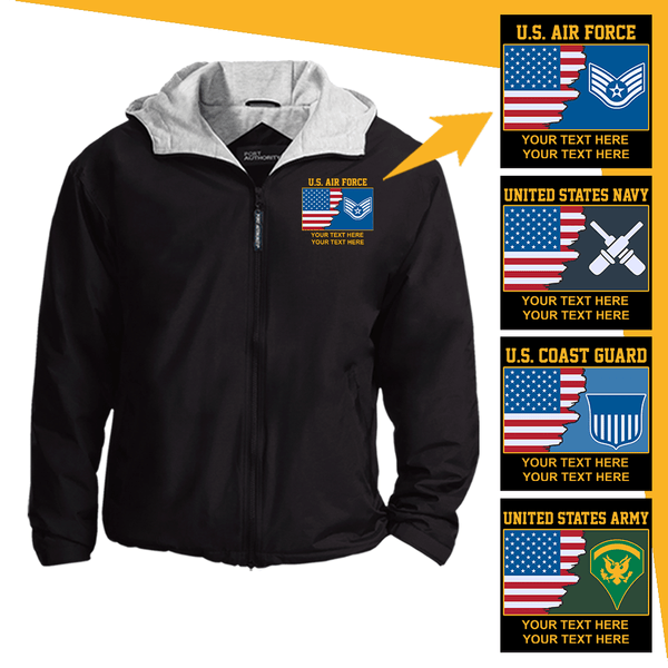 Personalized USA Flag with Military Logo/Insignia and Text Embroidered Team Jacket