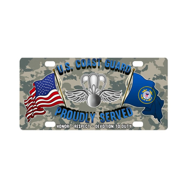 USCG AVIATION SURVIVAL TECHNICIAN AST Logo- Classic License Plate