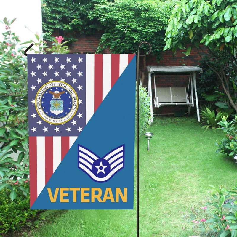 US Air Force E-5 Staff Sergeant SSgt Veteran House Flag 28 inches x 40 inches Twin-Side Printing