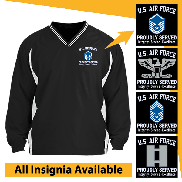 US Air Force Insignia Proudly Served Core Values Embroidered Windshirt
