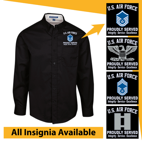 US Air Force Insignia Proudly Served Core Values Embroidered Dress Shirt