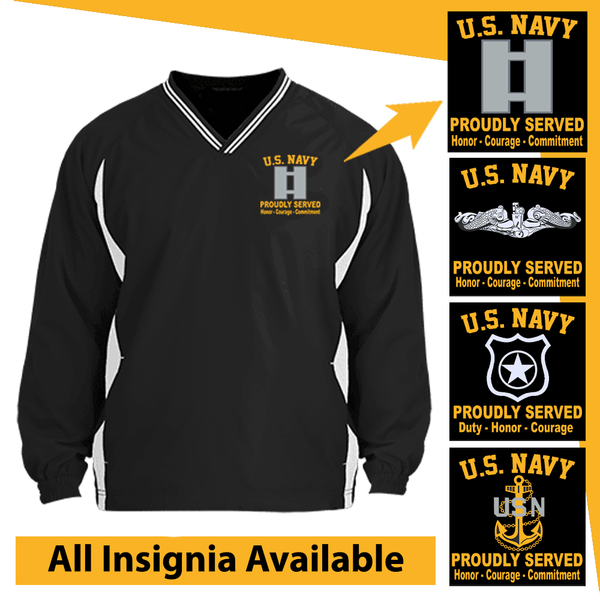 US Navy Insignia Proudly Served Core Values Embroidered Windshirt