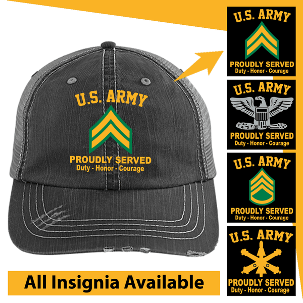 US Army Insignia Proudly Served Core Values Embroidered Distressed Unstructured Trucker Cap