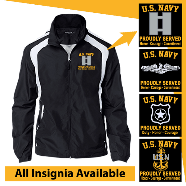 US Navy Insignia Proudly Served Core Values Embroidered Jersey-Lined Jacket