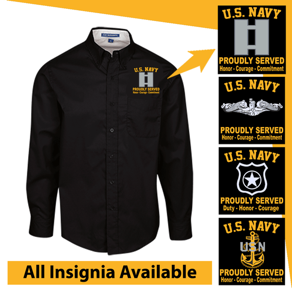 US Navy Insignia Proudly Served Core Values Embroidered Dress Shirt