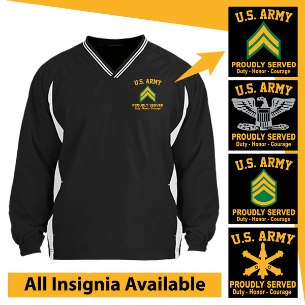 US Army Insignia Proudly Served Core Values Embroidered Windshirt