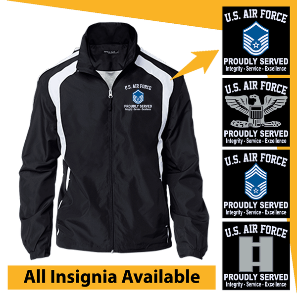 US Air Force Insignia Proudly Served Core Values Embroidered Jersey-Lined Jacket