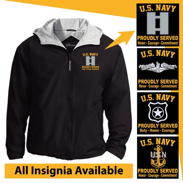 US Navy Insignia Proudly Served Core Values Embroidered Team Jacket
