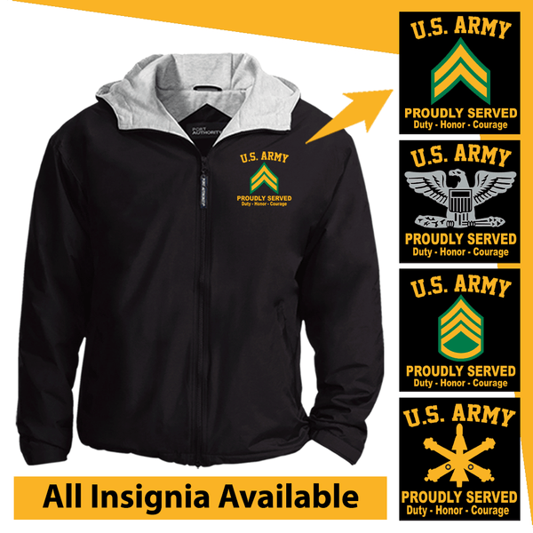 US Army Insignia Proudly Served Core Values Embroidered Team Jacket
