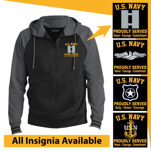 US Navy Insignia Proudly Served Core Values Embroidered Hooded Jacket
