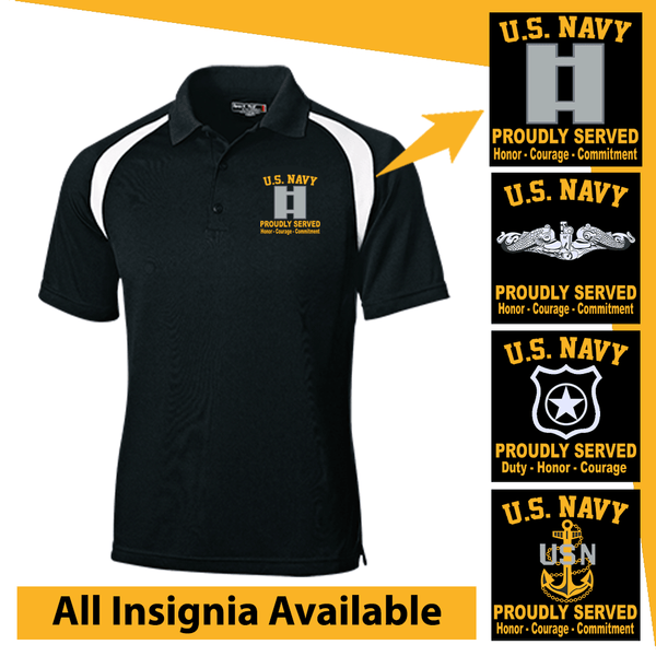 US Navy Insignia Proudly Served Core Values Embroidered Golf Shirt