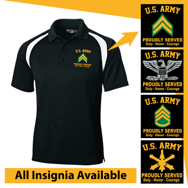 US Army Insignia Proudly Served Core Values Embroidered Golf Shirt