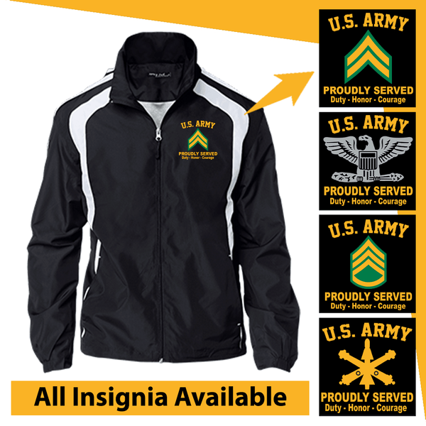 US Army Insignia Proudly Served Core Values Embroidered Jersey-Lined Jacket