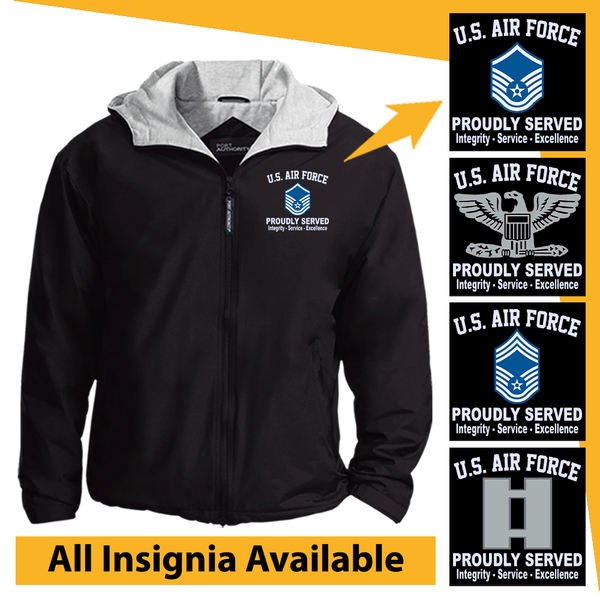 US Air Force Insignia Proudly Served Core Values Embroidered Team Jacket