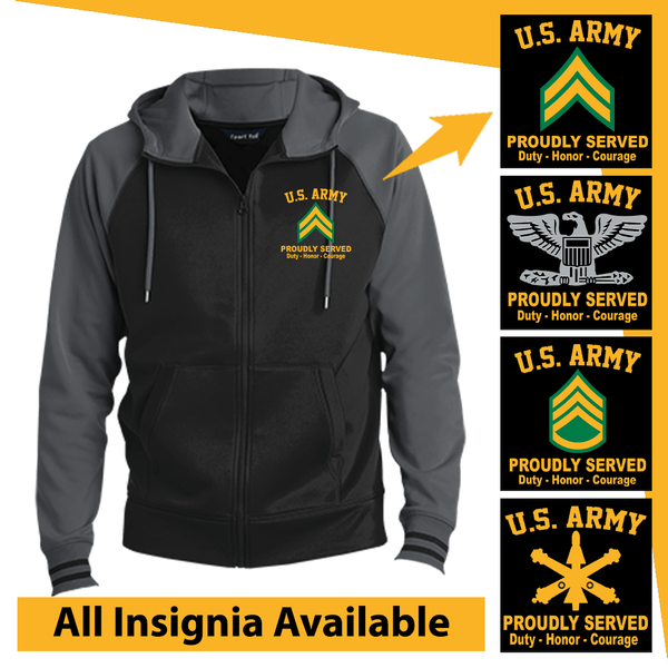 US Army Insignia Proudly Served Core Values Embroidered Hooded Jacket