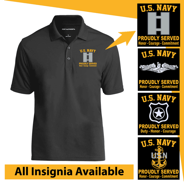 US Navy Insignia Proudly Served Core Values Embroidered Port Authority Polo Shirt