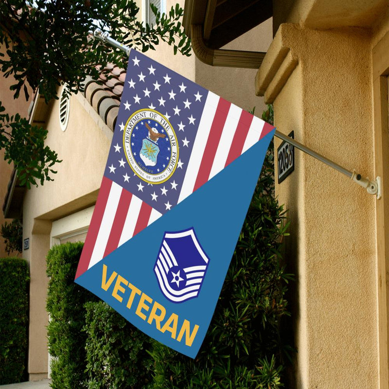 US Air Force E-7 Master Sergeant MSgt Veteran House Flag 28 inches x 40 inches Twin-Side Printing