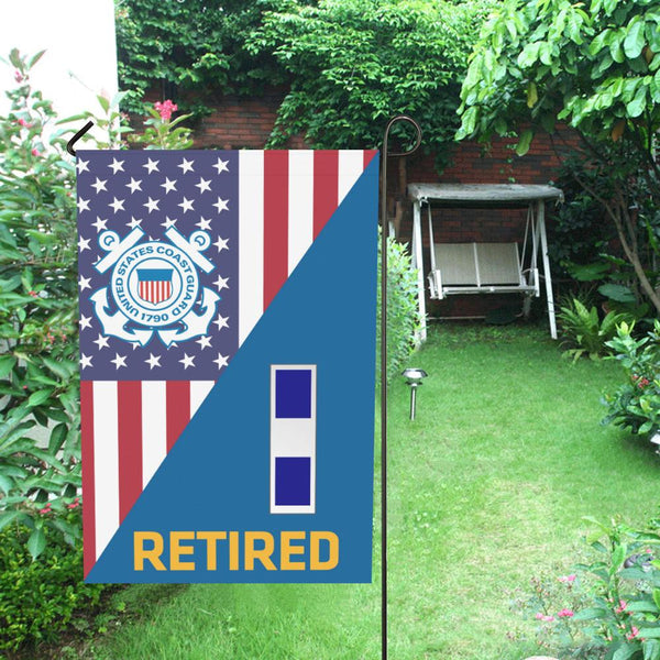 US Coast Guard W-3 Chief Warrant Officer 3 W3 CWO-3 Retired Garden Flag/Yard Flag 12 inches x 18 inches
