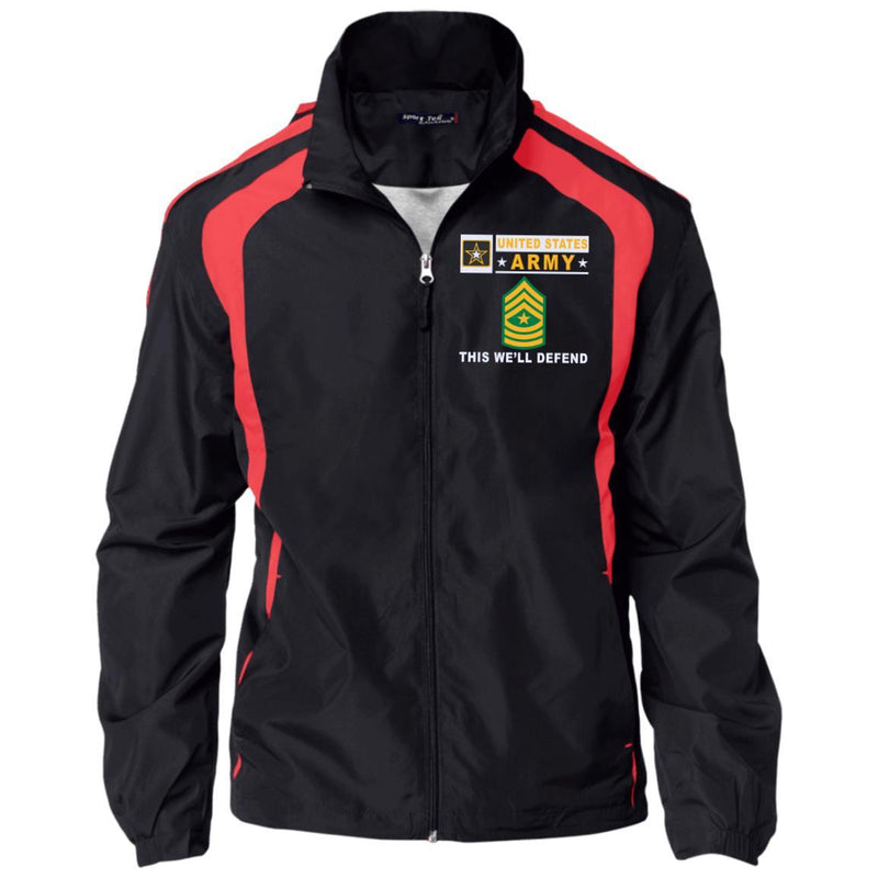 US Army E-9 Sergeant Major E9 SGM Noncommissioned Officer- This we'll defend Embroidered Sport-Tek Jersey-Lined Jacket