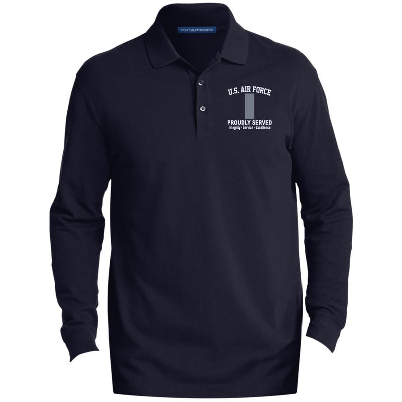 US Air Force O-2 First Lieutenant 1st L O2 Commissioned Officer Core Values Embroidered LS Polo Shirt - Colorblock 1/2 Zip