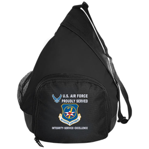 US Air Force Seventh Air Force Proudly Served-D04 Embroidered Active Sling Pack