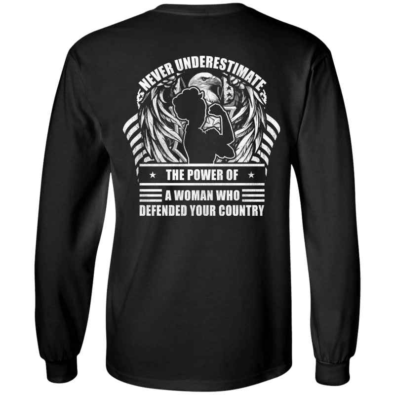 Never Underestimate A Woman Who Defended Your Country Women Back T Shirts