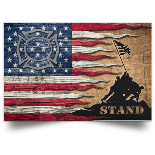 US Coast Guard Fire and Safety Specialist FF Logo Stand For The Flag Satin Landscape Poster