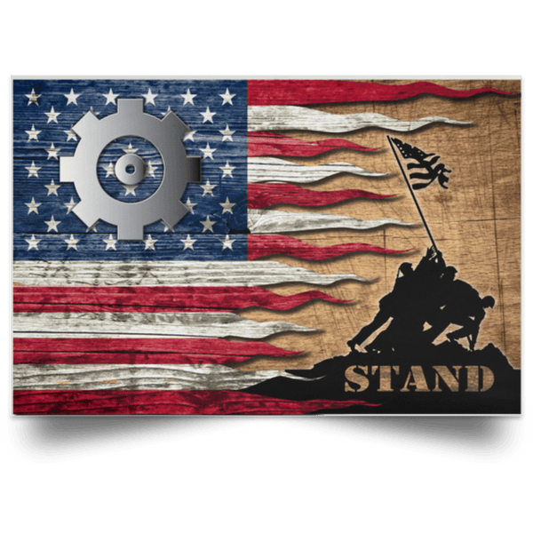 US Coast Guard Machinery Technician MK Logo Stand For The Flag Satin Landscape Poster