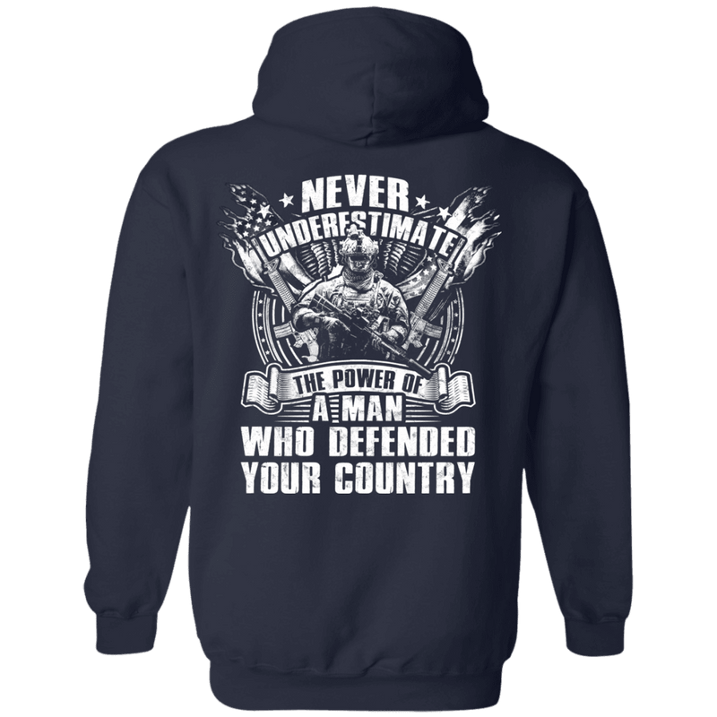 Never Underestimate The Power of Man Defended Country Men Back T Shirts