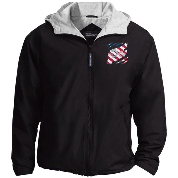 US Navy Aviation Support Equipment Tech AS And American Flag At Heart Embroidered Team Jacket