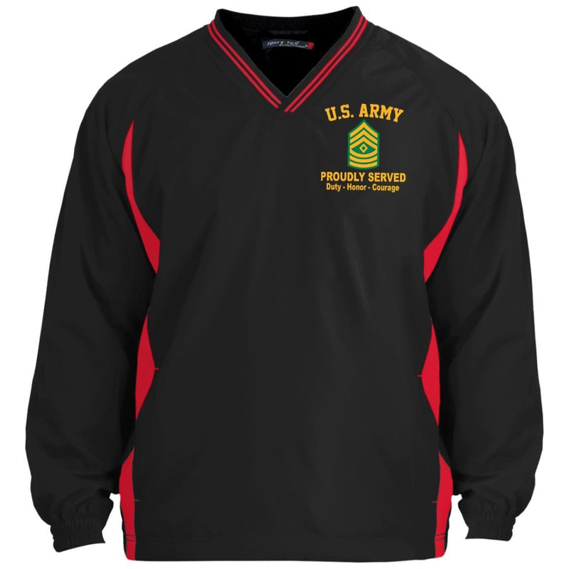US Army E-8 First Sergeant E8 1SG Noncommissioned Officer Embroidered Sport-Tek Tipped V-Neck Windshirt