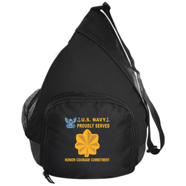 US Navy O-4 Lieutenant Commander O4 LCDR Junior Officer Proudly Served-D04 Embroidered Active Sling Pack