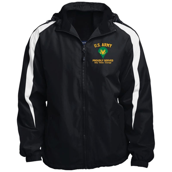 US Army E-4 SPC E4 Specialist Ranks JST81 Sport-Tek Fleece Lined Colorblocked Hooded Jacket