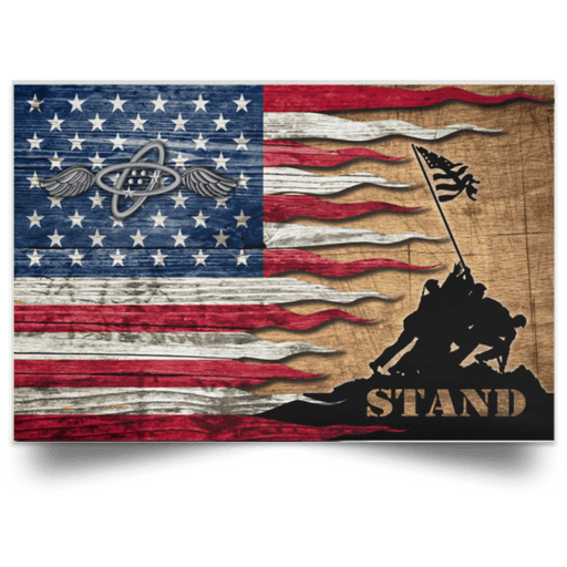 USCG AVIONICS ELECTRICAL TECHNICIAN AET Logo Stand For The Flag Satin Landscape Poster