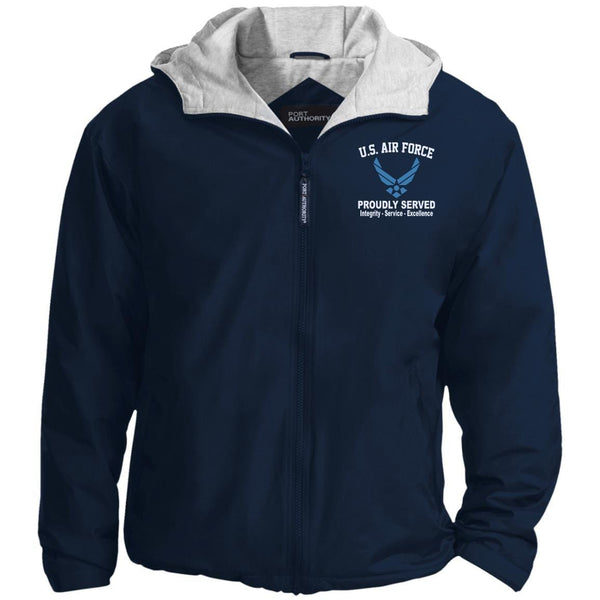 US Air Force Logo Core Values Embroidered Port Authority® Hoodie Team Jacket