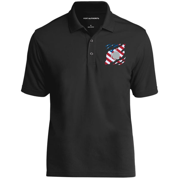 US Navy Utilitiesman UT And American Flag At Heart Embroidered Polo Shirt