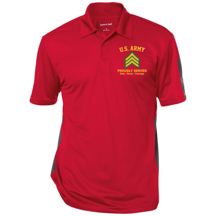 US Army E-5 Sergeant E5 SGT Noncommissioned Officer Ranks Performance Embroidered Polo Shirt